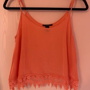 Coral Tank with Lace Fringe Bottom